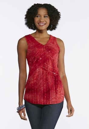 Plus Size Sequin Ribbon Embellished Top