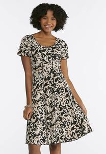 Seamed Neutral Paisley Puff Print Dress
