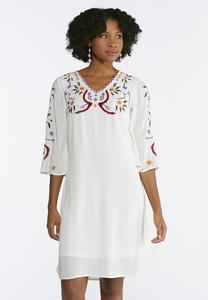 Embroidered Gauze Swing Dress