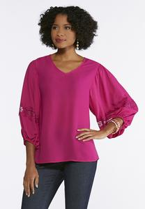 Plus Size Lace Sleeve Poet Top
