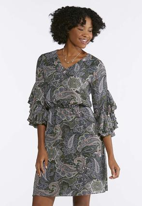 Plus Size Ruffled Paisley Blouson Dress