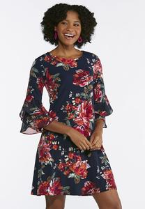 Plus Size Blossoming Navy Swing Dress