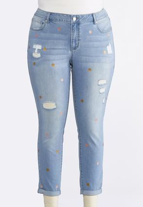 Plus Size Foil Dot Distressed Ankle Jeans | Tuggl