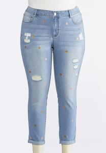 Plus Size Foil Dot Distressed Ankle Jeans