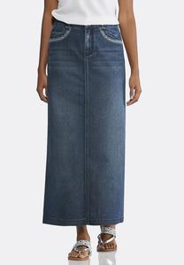 Plus Size Stitched Pockets Denim Skirt