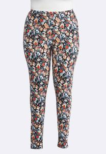 Plus Size Navy Botanical Leggings