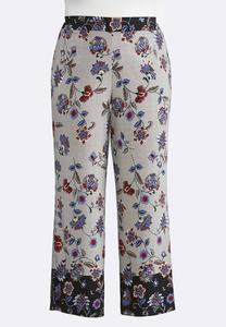 Plus Size Floral Houndstooth Palazzo Pants