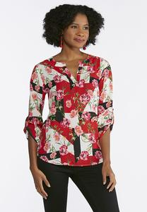 Plus Size Geo Floral Popover Top