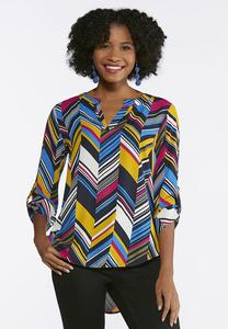 Plus Size Multi Scattered Chevron Top