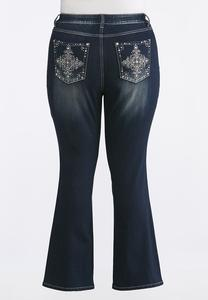 Plus Size Crystal Embellished Bootcut Jean
