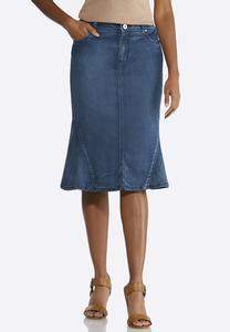 Plus Size Flounce Denim Skirt