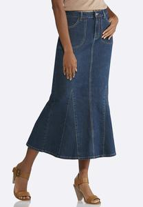 Plus Size Denim Mermaid Skirt