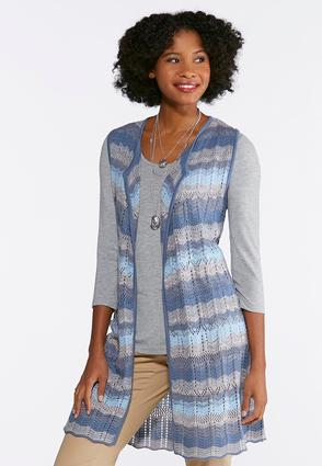 Plus Size Shades Of Blue Sweater Vest