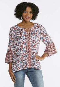Twin Print Bell Sleeve Top