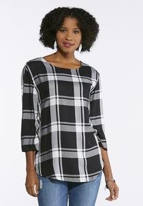 Plaid Button Shoulder Top