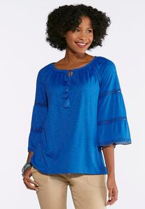 Plus Size Crochet Trim Peasant Top