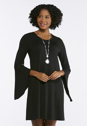 Angled Bell Sleeve Swing Dress