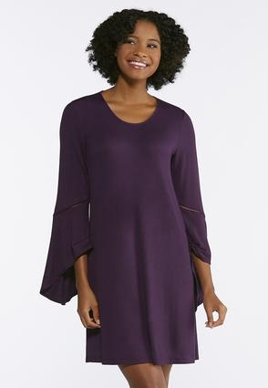 Plus Size Angled Bell Sleeve Swing Dress