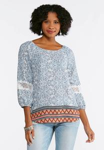 Lace Sleeve Border Print Top
