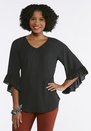 Plus Size Breezy Ruffled Sleeve Top