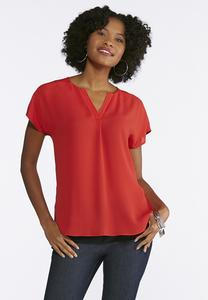 Plus Size Popover V- Neck Top