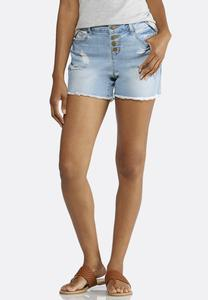 Button Down Distressed Denim Shorts