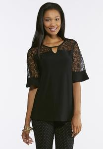 Plus Size Hardware Lace Yoke Top
