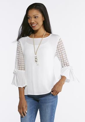 Gauze Lace Sleeve Top | Tuggl
