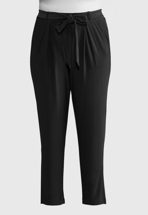 Plus Size Belted Slim Leg Pants | Tuggl