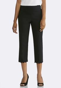 Cropped Scalloped Bengaline Pants