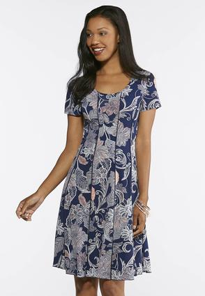 Seamed Navy Floral Puff Print Dress