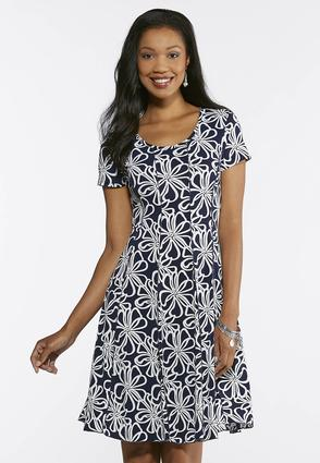 Navy Floral Puff Print Dress