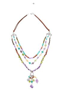 Multi Colored Layered Bead Necklace