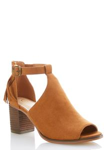 Wide Width Open Side Faux Suede Shooties