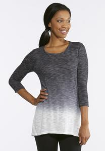 Plus Size Black Ombre Athleisure Shirt