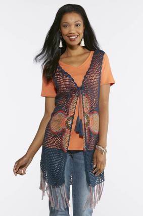 Open Crochet Fringe Vest | Tuggl