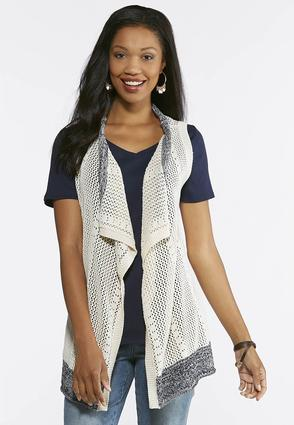 Plus Size Pointelle Color Trim Vest