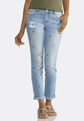 Foil Dot Distressed Ankle Jeans
