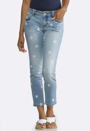 Star Print Skinny Ankle Jeans   Tuggl