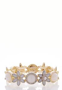 Flower Rhinestone Stretch Bracelet