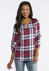 Plus Size Plaid Criss Cross Top