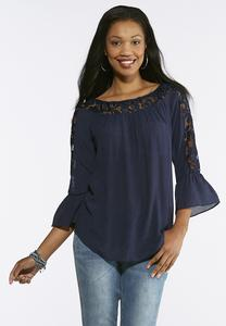 Plus Size Lace Trim Crepe Top