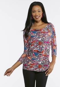 Bright Paisley Dolman Top