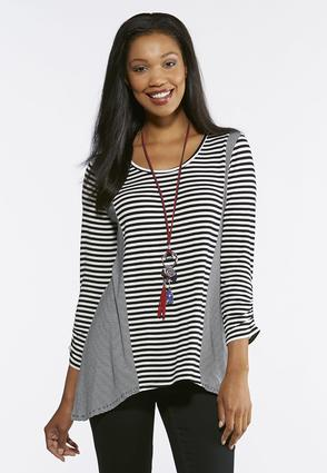 Stripe Ruched Sleeve Top | Tuggl