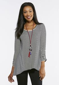 Stripe Ruched Sleeve Top
