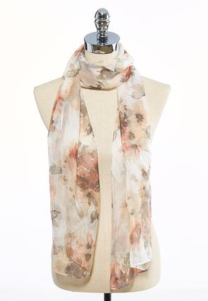 Watercolor Blossoms Oblong Scarf
