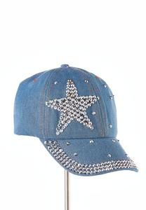 Star Embellished Denim Cap