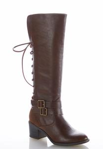 Wide Width Lace Up Faux Leather Boots