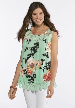 Plus Size Crochet Trim Floral Top | Tuggl