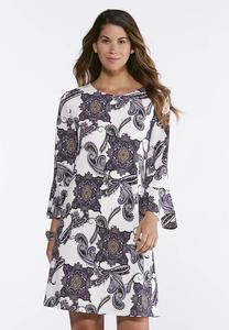 Plus Size Bell Sleeve Paisley Dress